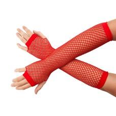 Lange Netzhandschuhe rot