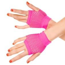 Kurze Netzhandschuhe pink