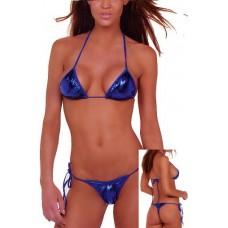 String Tanga Bikini blau metallic
