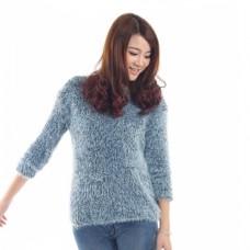 Angora Pullover blau/weiss